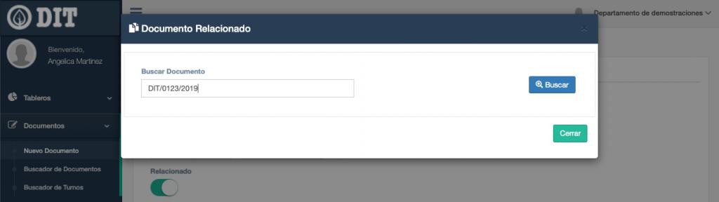 Captura de pantalla del buscador de documentos relacionados